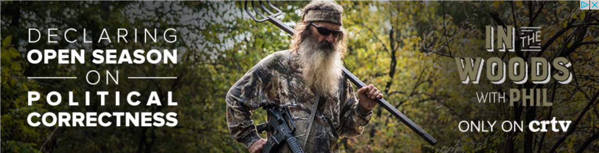 Dingleberry carrying a military-style assault weapon, next to the caption: Open Season on Political Correctness.