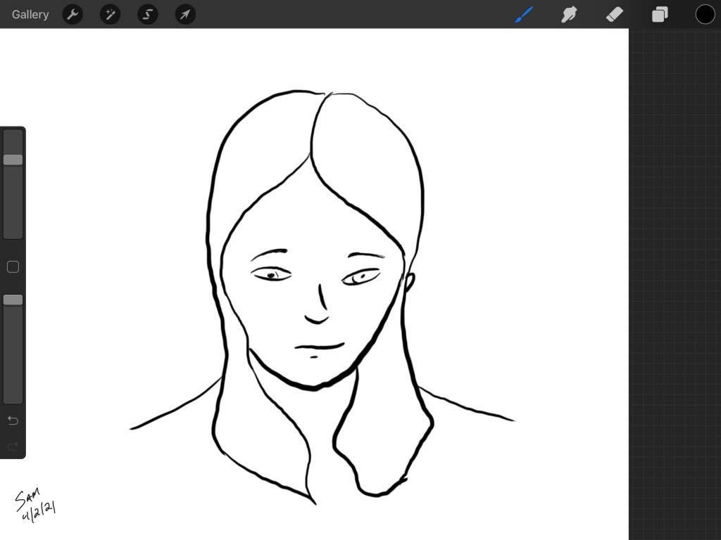 An ink line drawing of a woman looking down with a pensive expression.